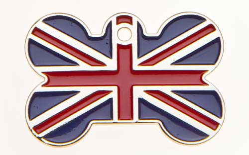 Large Union Jack Bone Tag