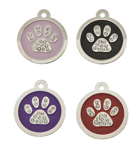 Small Premium Round Sparkling Crystal Paw Tag