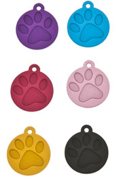 Small Laser Engraved Paw Circle I.D Tag