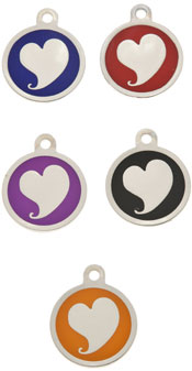 Small Luxury Round Heart Dog Tag