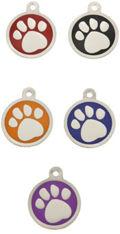 Small Luxury Round Paw Dog Tag