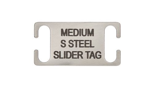 Slide on Collar Pet id Tag Stainless Steel Medium
