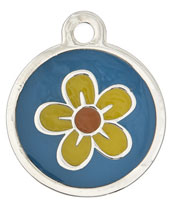 Large Luxury Flower Dog Tag
