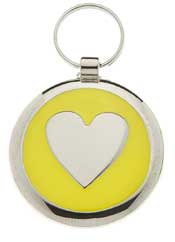 Small Elegance Round Heart Pet Tag