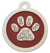 Large Premium Round Sparkling Crystal Paw Tag
