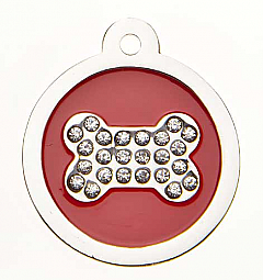 Small Premium Round Sparkling Crystal Bone Tag